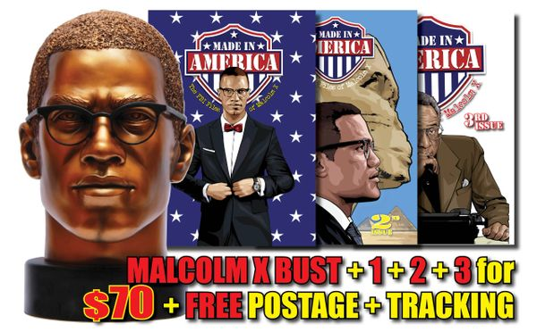 BEST DEAL! Malcolm X Bust + #1 + #2 + #3 + FREE Worldwide Shipping + Tracking!