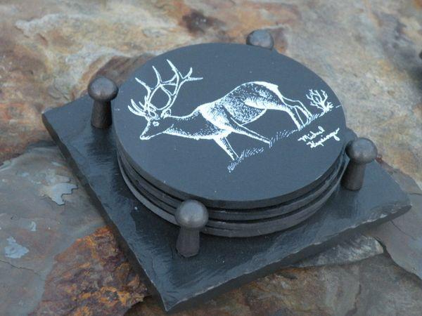 Slate Coaster Gift Set -- Elk