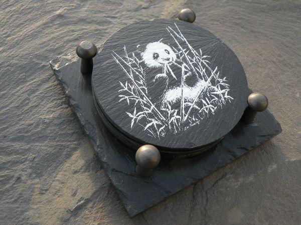 SLATE COASTER GIFT SET- PANDA