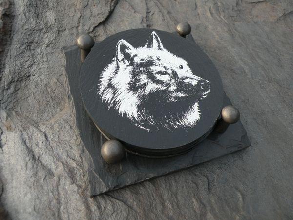 SLATE COASTER GIFT SET - WOLF