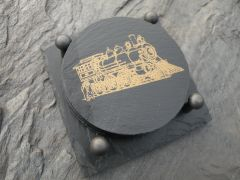 SLATE COASTER GIFT SET -- TRAIN