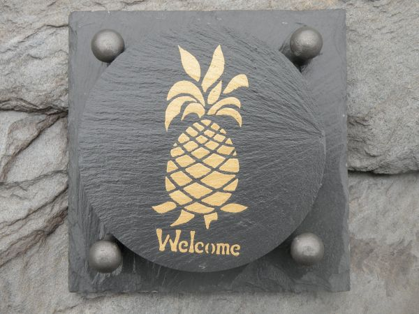 Slate Coaster Gift Set -- WELCOME PINEAPPLE