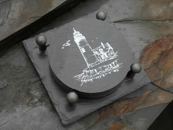 Slate Coaster Gift Set -- LIGHTHOUSE