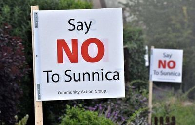 """Say NO to Sunnica"" signs- I will also say NO to Sunnica."