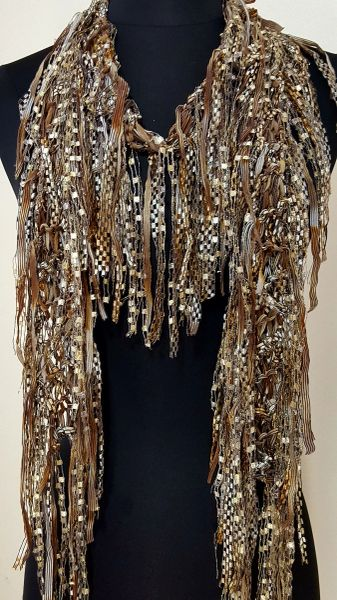 Light Brown Fringed Scarf