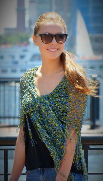Green Blue Confetti Shawl