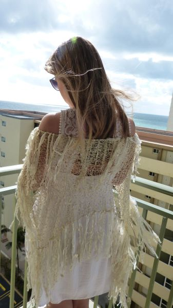 Gold Ivory Lace Scarf