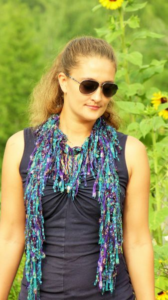 Purple green fringed scarf