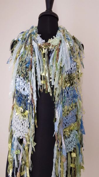 Light Blue and GreenFantasy Scarf