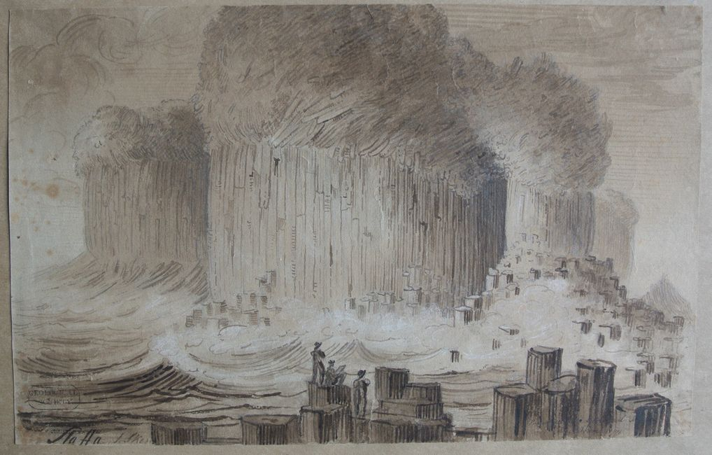 Staffa Ink wash drawing by James Skene, c. 1809.
