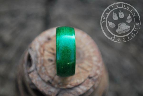 Green Birchwood Bentwood Ring