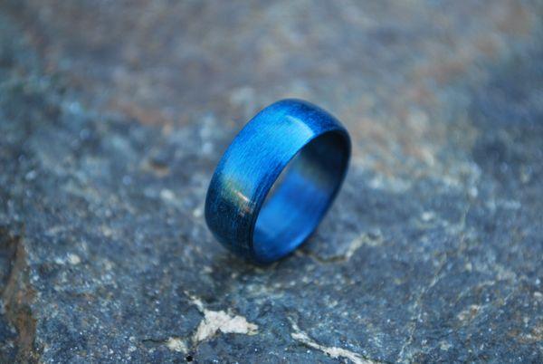 Blue Birchwood Bentwood Ring