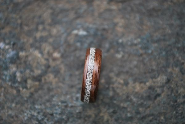 Black Walnut offset Silver Beading