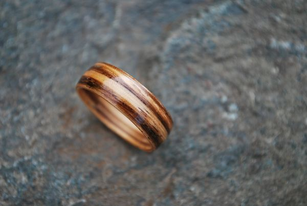 Exotic Zebrawood Bentwood Ring
