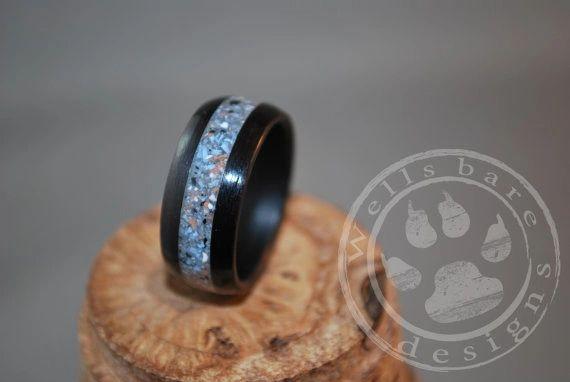 Black Birch Wood Steel Blue Inlay