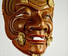 "BEAUTIFUL ANTIQUE HAND CARVED NOH THEATER  MASK  ""OKINA"""