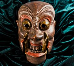 ANTIQUE  JAPANESE NASORI MASK OF BUDDIST DIVINITY FUDO