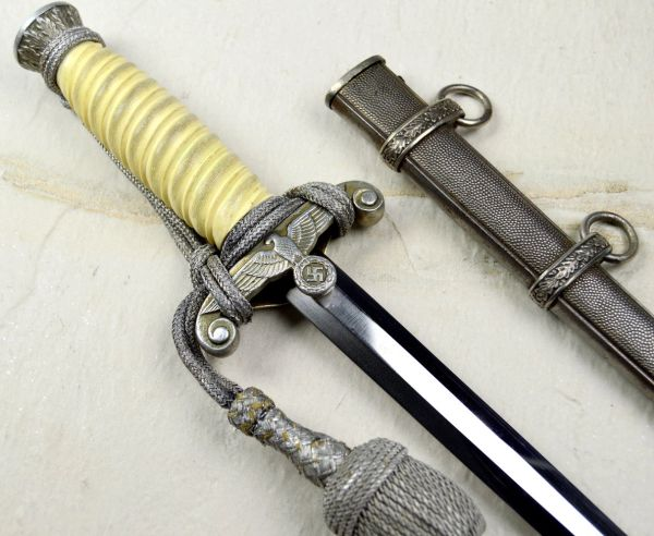 High Quality Unmarked Army Dagger With White Grip And Portapee **SOLD**