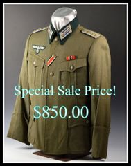 Fine WWII German Army Medical Officers Tunic with Original Ribbons and Award loops **SOLD**