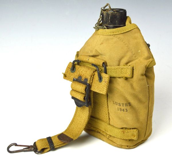 WWII U.S. Canteen With M-19 Cover and Strap Marked LUSTRE 1943 **SOLD**