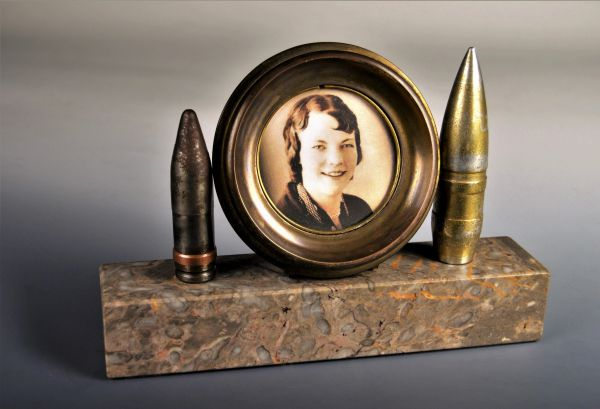German 88 cm Flak Shell Desktop Picture Frame With Marble Base and Projectiles