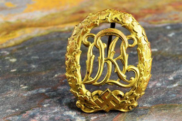 """1937 Pattern DRL Sports Badge in Bronze """"Ernst Müller, Pforzheim"""" (Rare Maker)"""