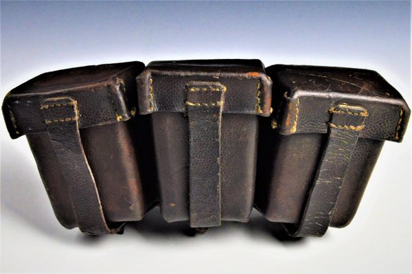 Unusual Great War Blackened German M1909 ammo pouch with field modifications