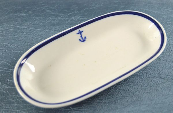 U.S.Navy Blue Fouled Anchor Butter Dish Made By Shenango China New Castle,PA. **SOLD**