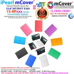"""mCover Hard Shell Case for 15.6"""" HP Envy X360 15-BPxxx / 15-BQxxx Series (15-BP143cl / 15-BP152nr, etc, NOT Compatible with X360 15-AQxxx / 15-CNxxx and Other Series) Convertible laptops"""