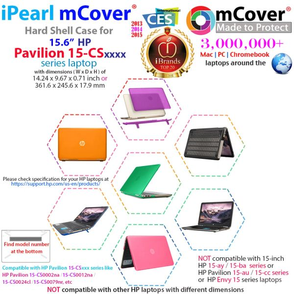 "mCover Hard Shell Case for 15.6"" HP Pavilion 15-CSxxxx (15-CS0000 to 15-CS9999) Series (NOT Fitting 15-AY / 15-BA / 15-AU / 15-CC / 15-BS etc or Envy Series laptops) Notebook PC"