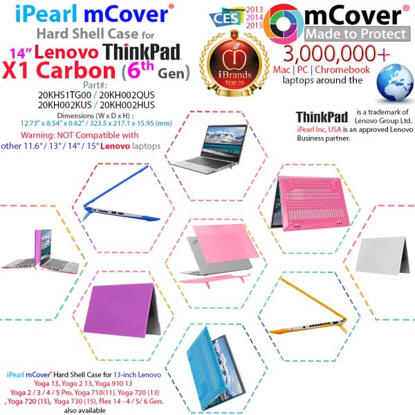 """mCover Hard Shell Case for 14"""" Lenovo ThinkPad X1 Carbon (6th Gen) Laptop"""