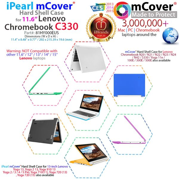 """mCover Hard Shell Case for Late-2018 11.6"""" Lenovo C330 Series Chromebook Laptop (NOT Fitting Lenovo N21 N22 N23 N24 100E 300E 500E Flex 11 Yoga 11e Chromebook)"""