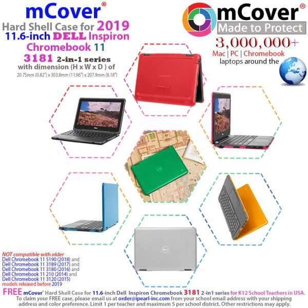 """mCover Hard Shell Case for 11.6"""" Dell Chromebook 11 3181 2-in-1 Series Laptop (NOT Compatible with 210-ACDU / 3120/3180 / 3189/5190 Series)"""