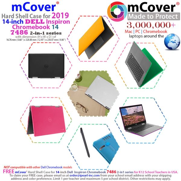 """mCover Hard Shell Case for 14"""" Dell Chromebook 14 7486 2-in-1 Series Laptop (NOT Compatible with Other 11.6-inch / 13-inch Dell Chromebook Series)"""