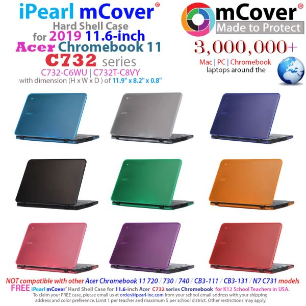 "mCover Hard Shell Case for 2019 11.6"" Acer Chromebook 11 C732 Series Laptop (NOT Compatible with Older Acer 11 C720 / C730 / C731 / C771 / C740 / CB3-111 / CB3-131 Series Laptop)"