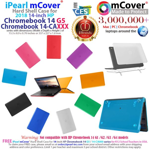 """mCover Hard Shell Case for 14"""" HP Chromebook 14 G5 / 14-CA / 14-DB Series laptops ( HP 14-ca050sa etc) size (337 x 227 x 1.8 mm) ( (NOT Compatible with Older HP C14 G1 / G2 / G3 / G4 Series)"""