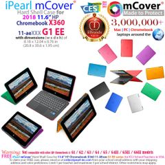"mCover Hard Shell Case for 11.6"" HP Chromebook X360 11 G1 EE laptops (NOT Compatible with HP C11 G4EE / G5EE / G6EE)"
