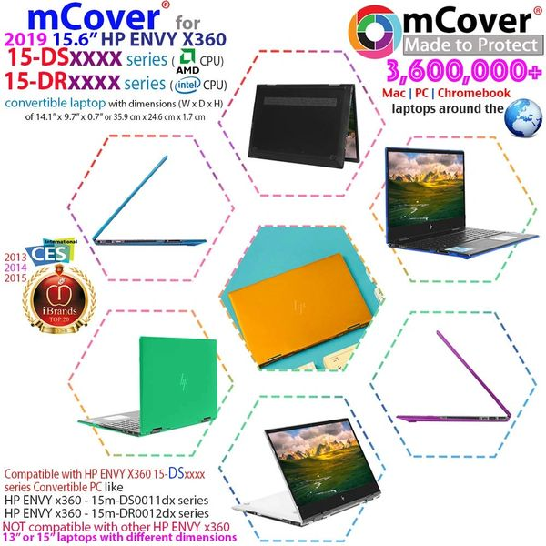 "mCover Hard Shell Case for 2019 15.6"" HP Envy X360 15-DSxxxx / 15-DRxxxx / 15-CPxxxx Series (NOT Compatible with X360 15-AQxxx / 15-BPxxx and Other Series)"