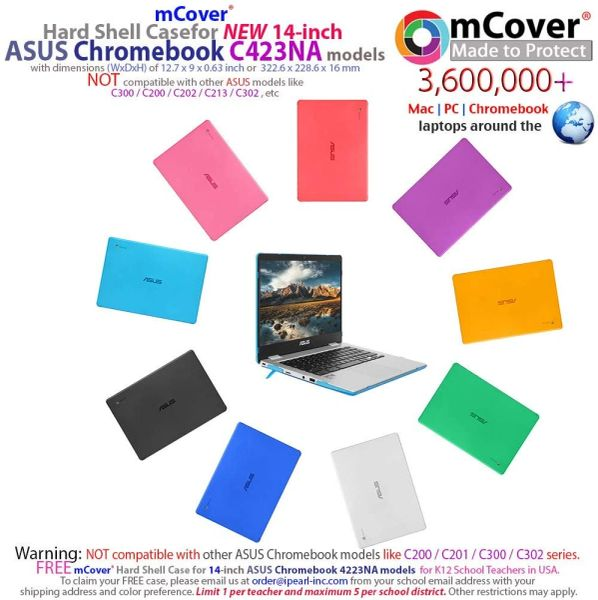 mCover Hard Shell Case for 2019 14-inch ASUS Chromebook C423NA Series Laptop