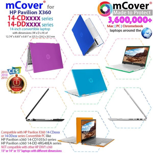"mCover Hard Shell Case for 14"" HP Pavilion X360 14-CDxxxx / 14-DDxxxx Series Convertible 2-in-1 laptops (Not compatible with ANY other HP 14"")"