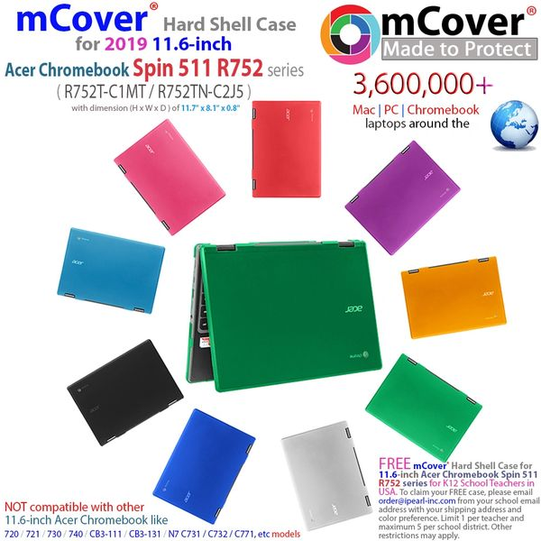 "mCover Hard Shell Case for 2019 11.6"" Acer Chromebook Spin 511 R752T Series (NOT Compatible with Acer Chromebook R751T and other Acer 11.6 Laptop)"