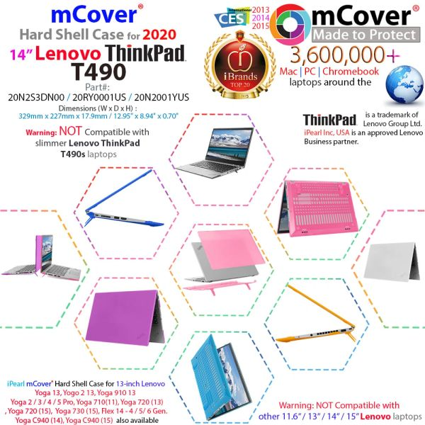 """mCover Hard Shell Case for 2020 14"""" Lenovo ThinkPad T490 Series Laptop Computer"""