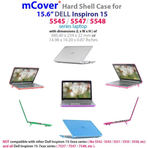 """mCover Hard Shell Case ONLY for 15.6"""" Dell Inspiron 15 5545 / 5547 / 5548 Series Laptop (**NOT for Dell 5568**)"""