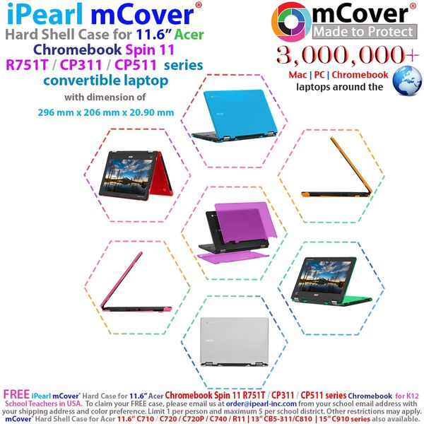 """mCover Hard Shell Case for 11.6"""" Chromebook Spin CP311 / R751T Series ( not compatible with 11.6"""" Acer Spin 311 chromebook) Size (29.6 x 20.6 x 2.09 cm)"""