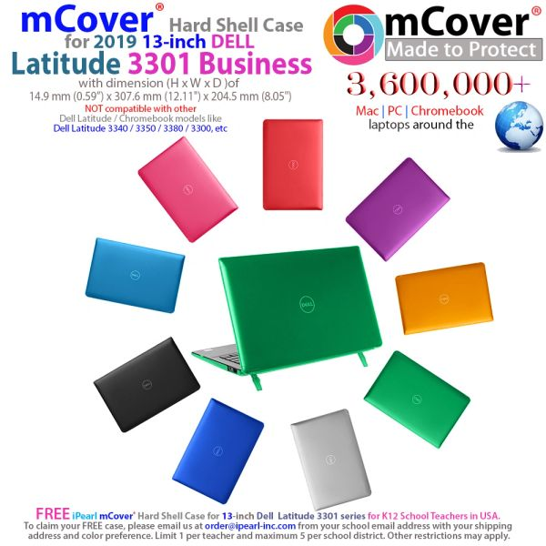 """mCover Hard Shell Case for 2019 13.3"""" Dell Latitude 13 3301 Business Series Laptop Computers Released After May 2019"""