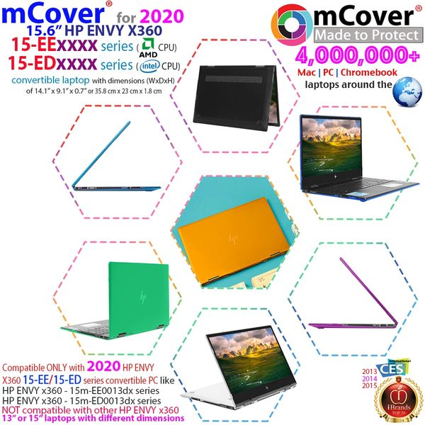 """mCover Hard Shell Case for 2020 15.6"""" HP Envy x360 15-EExxxx (AMD CPU) / 15-ED (Intel CPU) Series Laptop (NOT Compatible with Envy x360 15-AQ/BP/DS/DR Series & Other Models)"""