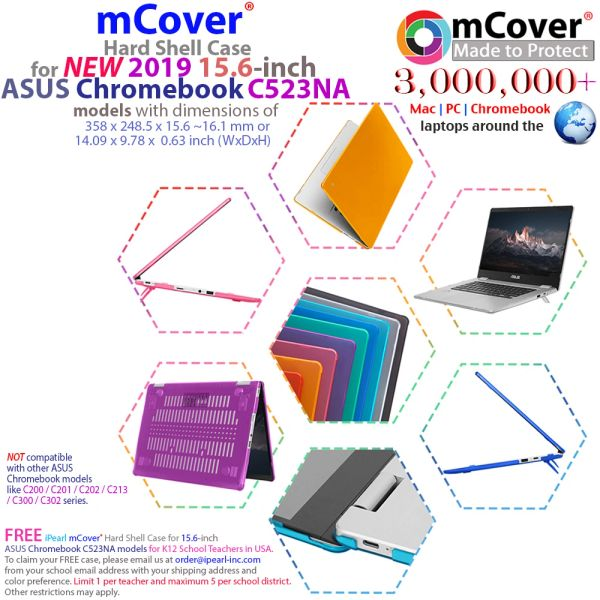 mCover Hard Shell Case for 15.6-inch ASUS Chromebook C523NA Series Laptop - ASUS C523