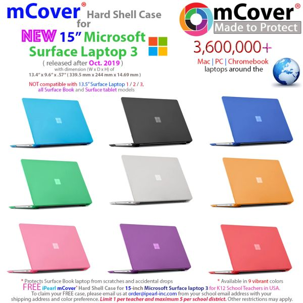mCover Hard Shell Case for 15-inch Microsoft Surface Laptop 3 Computer