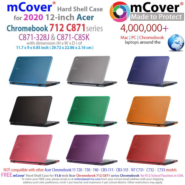 mCover Hard Shell Case for 2020 12-inch Acer Chromebook 712 C871 Series (NOT Compatible with Acer C11 C720 / C721 / C730 / C731 / C732 / C771 / C740 / CB3-111 / CB3-131,etc)