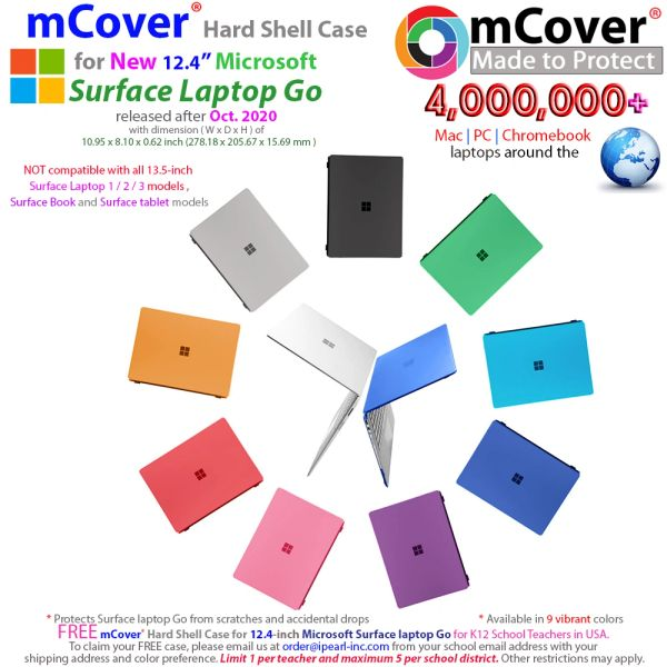 mCover Hard Shell Case for New Late-2020 12.4-inch Microsoft Surface Laptop Go with Touch Screen (NOT Compatible with 13.5 Surface Laptop Models, Surface Book and Tablet)